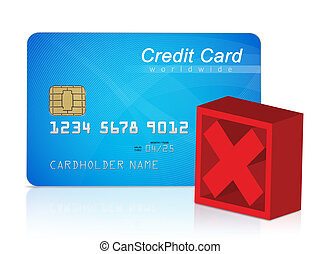 Credit card and red cross mark, white background