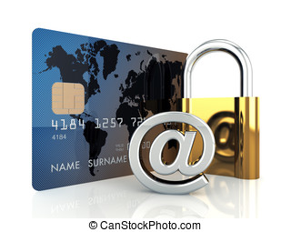 Credit card ,arobase sign and a padlock on white background...
