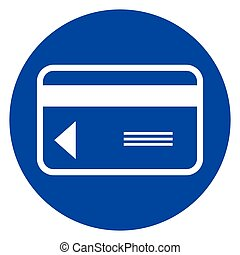 credit card blue circle icon