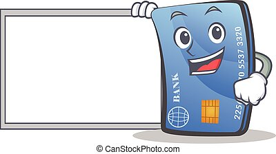 credit card character cartoon with board