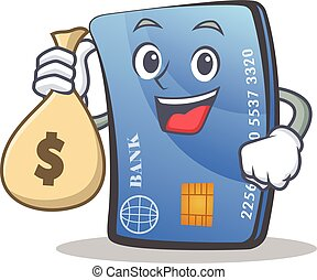 credit card character cartoon with money bag