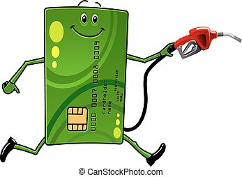 Credit card character with gasoline pump - Green credit card...