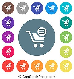 Credit card checkout flat white icons on round color backgrounds