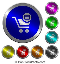 Credit card checkout luminous coin-like round color buttons