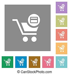 Credit card checkout square flat icons