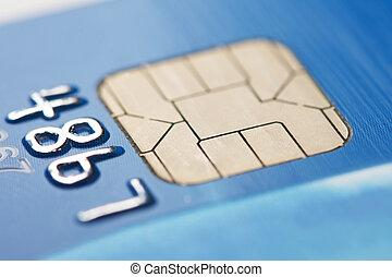 Closeup of a credit card smart chip.