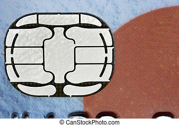 Credit card chip in close
