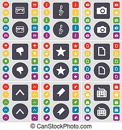 Credit card, Clef, Camera, Dislike, Star, File, Arrow up, Marker, Keyboard icon symbol. A large set of flat, colored buttons for your design. Vector