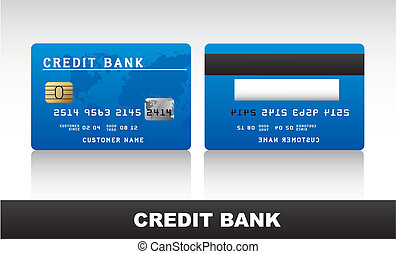credit card - blue credit card with shadow over grey...