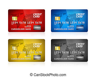 Credit Card Collection Isolated - Pack of high detail...