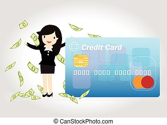 Credit Card Concept - Happy business woman wiht credit card...