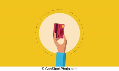 Credit card concept HD animation - Hand with credit card...