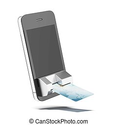credit card connected to mobile phone