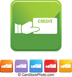 Credit card web button isolated on a background.