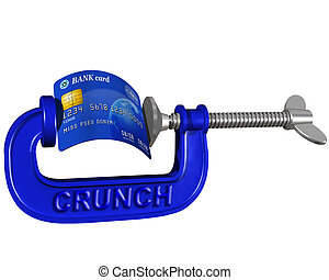 Credit card crunch - Isolated illustration of a credit card...