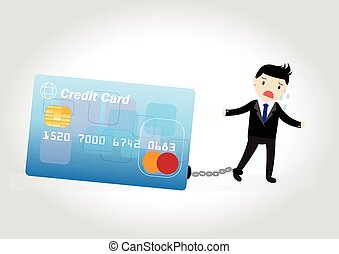 Credit Card Debt Concept - Businessman with debt bills and...