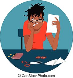 Disheveled upset black woman looking at a credit card bill, cut card in front of her on a table, circular background, vector illustration