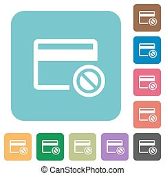 Credit card disabled rounded square flat icons