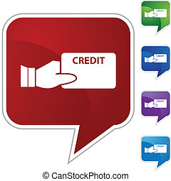 Credit Card - Credit card web button isolated on a...