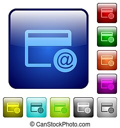 Credit card email notifications color square buttons