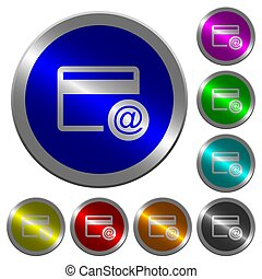 Credit card email notifications luminous coin-like round color buttons