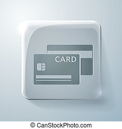 credit card. Glass square icon
