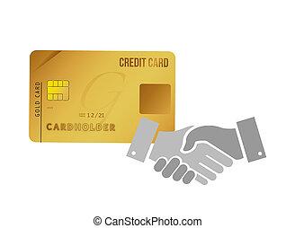 credit card handshake agreement sign concept