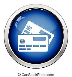 Credit card icon. Glossy button design. Vector illustration.