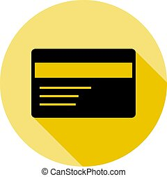 credit card icon in long shadow style