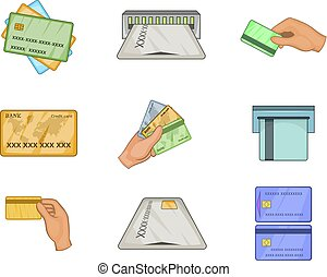 Credit card icon set, cartoon style
