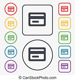 credit card icon sign. symbol on the Round and square buttons with frame. Vector