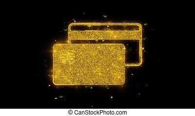 Credit Card Icon Sparks Particles on Black Background.