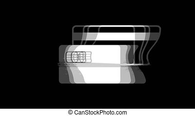 Credit Card icon Vintage Twitched Bad Signal Animation.
