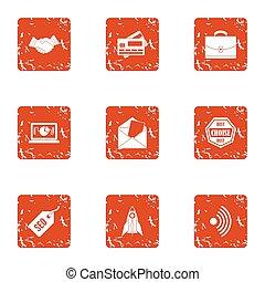 Credit card icons set, grunge style