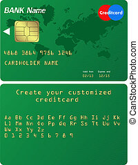 Credit card Illustration. Alphabet included to customize your card
