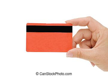 credit card in a female hand