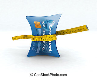 credit card in measuring tape 3d illustration