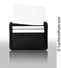 credit card in seamed leather holder isolated on white...