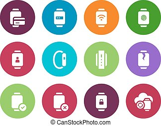 Credit card in smart watches circle icons on white background.