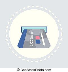 credit card in terminal payment transaction shopping icon concept flat