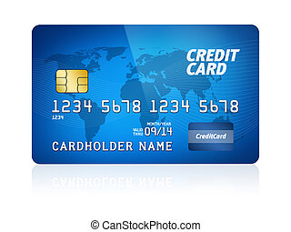 High detail illustration of a plastic credit card. Isolated on white. Map from: