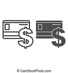 Credit card line and glyph icon. Plastic card and dollar sign vector illustration isolated on white. Bank card outline style design, designed for web and app. Eps 10.