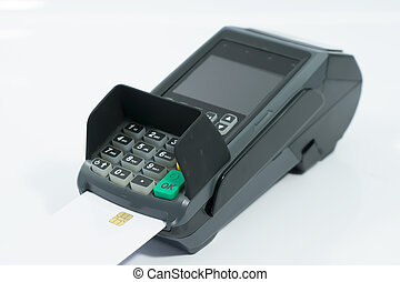 Credit card machine on isolated