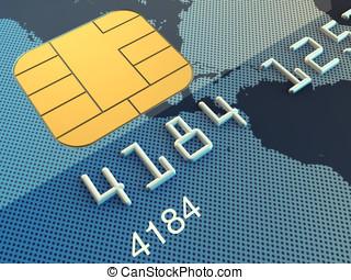 Credit card macro , 3d illustration
