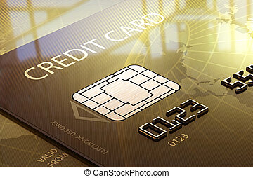 Glossy Credit Card Close-up in front of window (Elements of this image furnished by NASA - map derived from