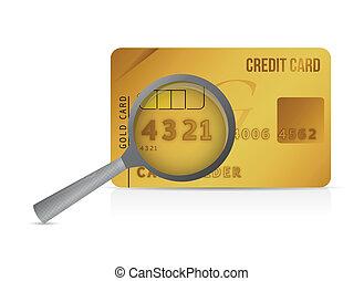 credit card magnify glass illustration design