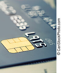 Credit card micro chip - Closeup of credit card micro chip