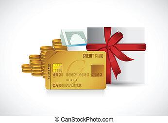 credit card money and present illustration