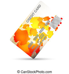 credit card on autumn isolated on a white background. business concept