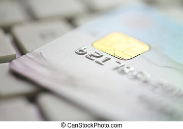 Credit Card On Keyboard - Closeup shot of credit card on the...